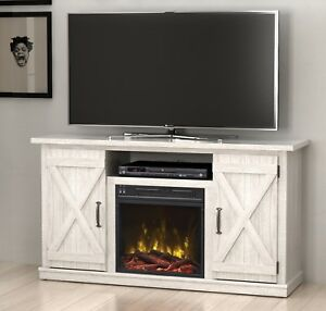White Fireplace Tv Stand Media Console Rustic Adustable Shelves