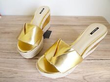 ZARA GOLD-TONE MULE WEDGE SANDALS SIZE UK 8 EU 41 USA 10
