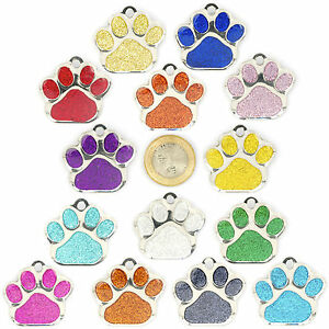 Dog-ID-Tag-EXTRA-LARGE-38mm-PET-TAGS-Reflective-Glitter-Dog-Paw-ENGRAVED-OPTIONS