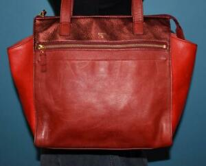 FOSSIL Three Toned Red Leather Shoulder Shopper Tote Carryall Purse Bag SHB1162