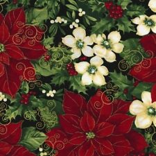 Timeless Treasures Christmas Morning CM4991 Black Poinsettia  COTTON FABRIC