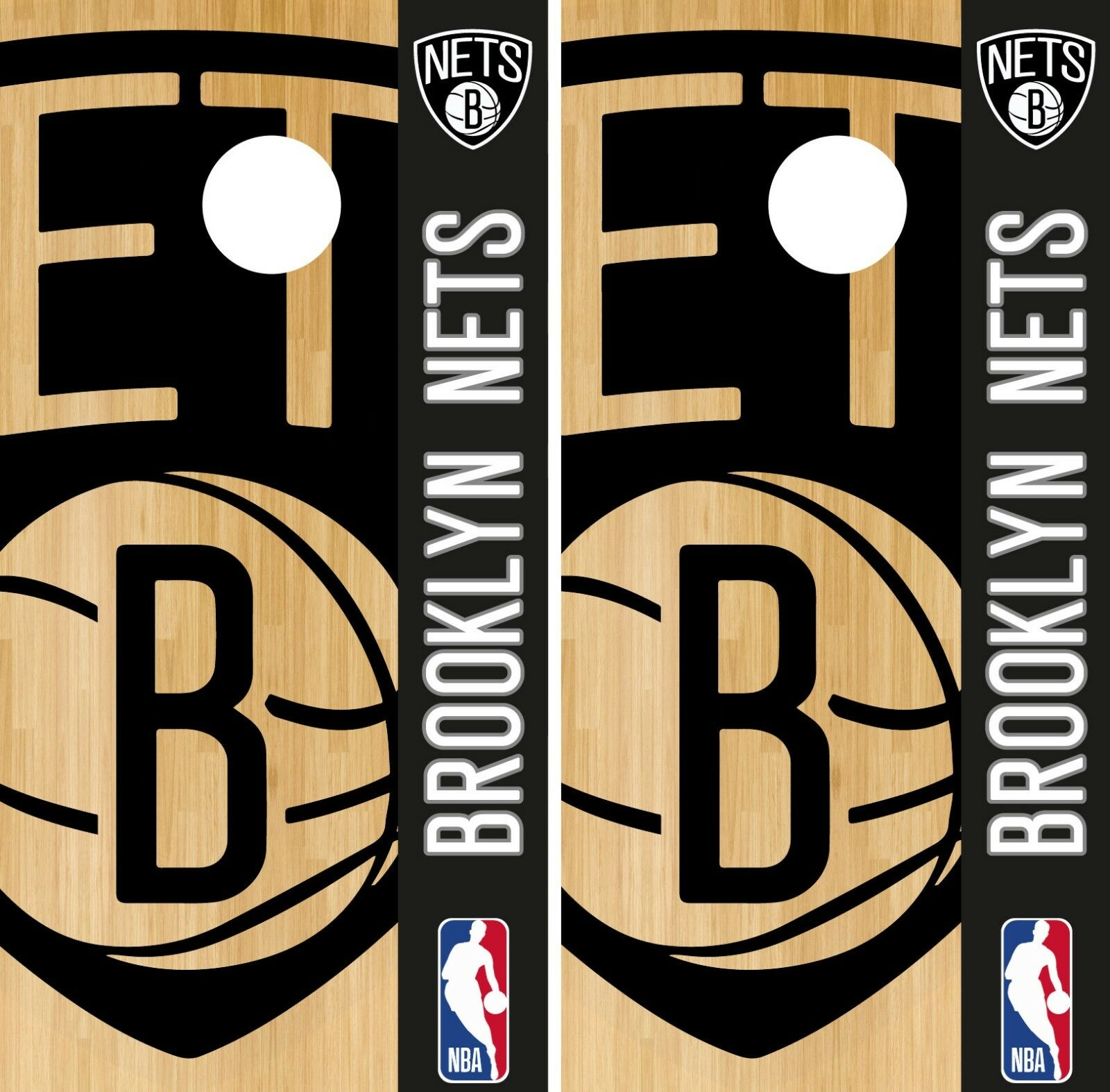 Brooklyn Nets Cornhole Wrap NBA Game Logo Board Skin Set Vinyl Decal CO565
