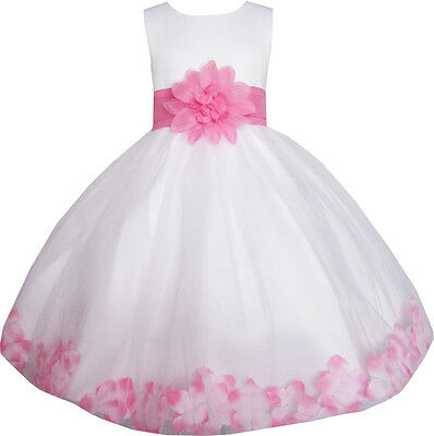 Girls Dress White Pink Flower Wedding Bridesmaid Christmas Holiday Kids 2-14 New