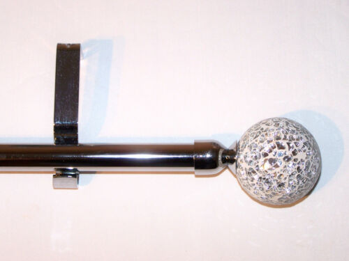 28mm Polished Chrome Eyelet Curtain Pole Mosaic Ball Finials 1.2m 1.5m 2.4m 3m