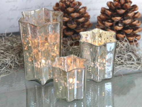 1 Teelichtglas CHIC ANTIQUE STERN,Glas Bauernsilber Shabby Silber SALE 30 /%