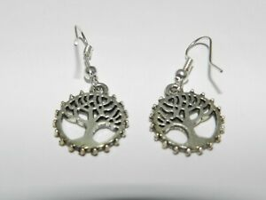 Earrings-Handmade-1-3-8-034-Crafted-Silver-Color-Family-Tree-Fashion-Dangle-Canada