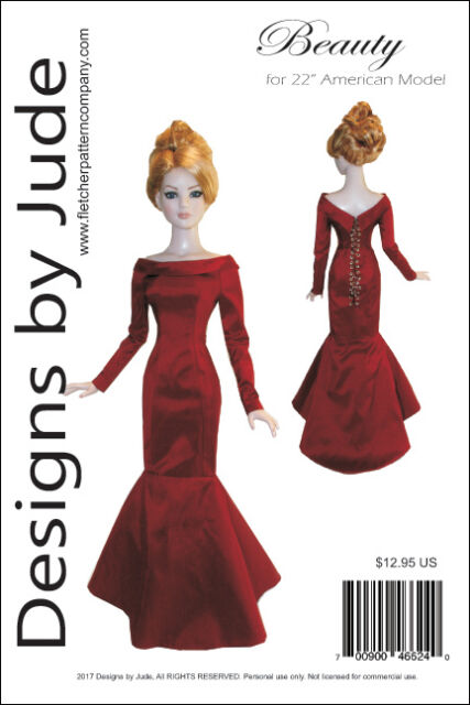 "Beauty Gown Doll Clothes Sewing Pattern for 22"" American Model Tonner"