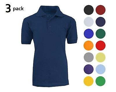 Sizes 4-20 Many Colors 3 Pack School Uniform Polo for Boys Choose Shirts Color