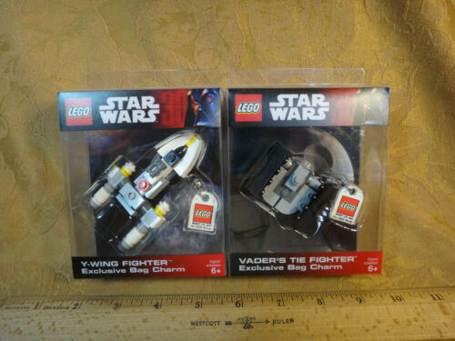Star Wars Lego Exclusive Bag Charm Lot Y-Wing Fighter /& Vader/'s TIE Fighter