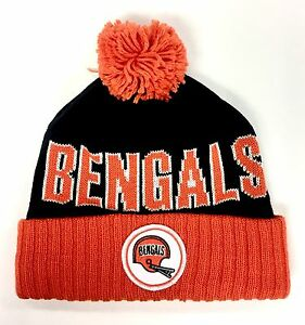 low cost e9fc6 e7d92 Details about Cincinnati Bengals Mitchell & Ness Knit Pom Ball Top Beanie  Hat - New with Tags