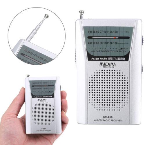 Mini Portable Pocket AM FM Radio Speaker Telescopic Antenna 3.5mm Jack Earphone