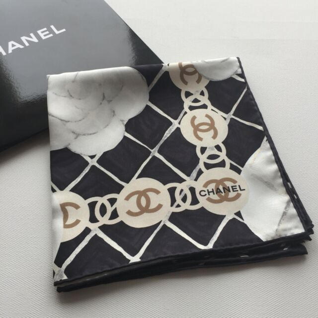 NEW AUTHENTIC CHANEL CLASSIC LOGO CAMELLIA FLORAL PRINT BLACK 100% SILK SCARF