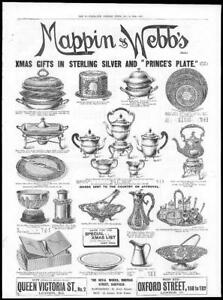 1899-Antique-Print-ADVERTISING-Mappin-Webbs-Xmas-Gifts-Sterling-Silver-90