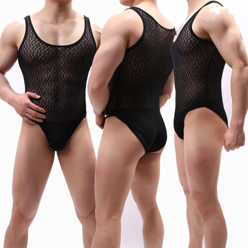 Mens Mesh Bodysuit Stretch Thong Leotard Bodycon Lingerie Underwear Jumpsuit