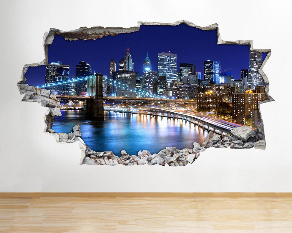 New York City NYC Ville Paysage de nuit Sk Autocollant Chambre 3D Vinyle enfants