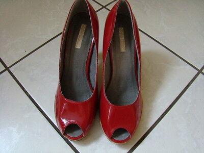 Bufallo SCHUHE 38 Damen Peep Toes Pumps High Heels Damen dunkel ROT TOP