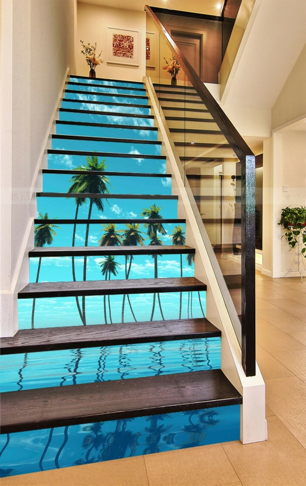 3D Palm Trees Sea Stair Risers Decoration Photo Mural Vinyl Decal Wallpaper UK