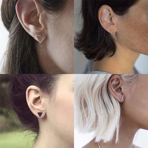 Gold Silver Black Filled Tiny Geometry Stud Earrings Jewellery Online for Women