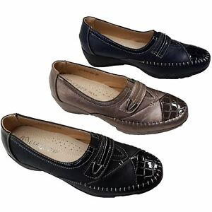 Womens Comfy Sole Alligator Patent Leather Low Wedge Shoes
