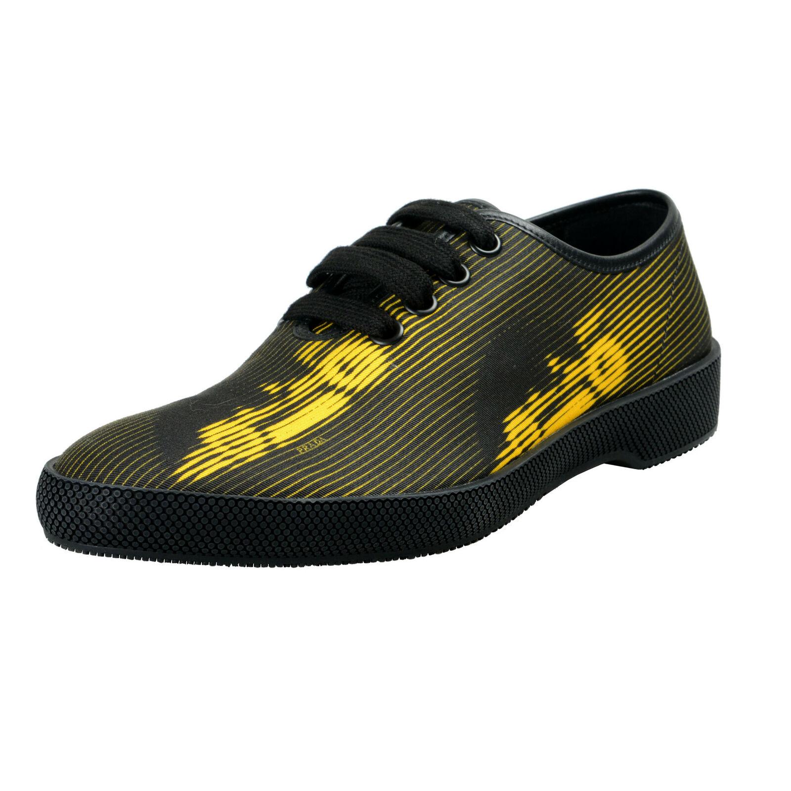 Prada Homme Cuir & Toile Baskets Tendance Chaussures 8.5