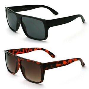 Flat Top Mens Square Frame Sunglasses Black and Tortoise ...