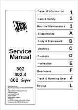 JCB 802 802.4 802 SUPER MINI ESCAVATORE Manuale di servizio (B233)