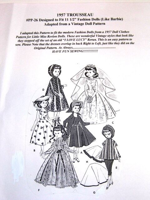 NG Creations Pattern #PP26 Sew 1957 Trousseau & Wedding Gown Fits Barbie Doll