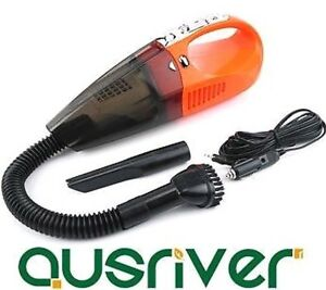 Orange Lisa Portable Handheld In Car Vacuum Cleaner Wet &Dry 100W 400CM Cord LED