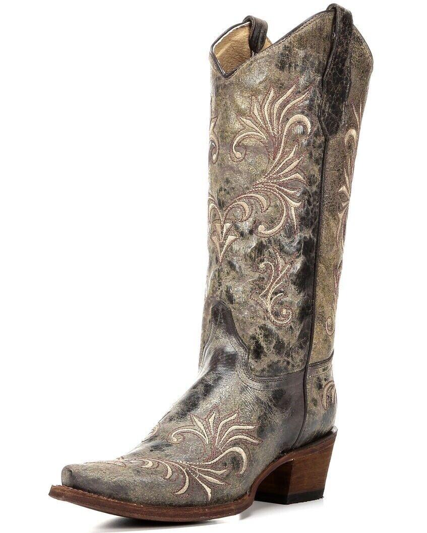 Círculo G Señoras botas de vaquero occidental por Corral verde Beige Filigrana L5133