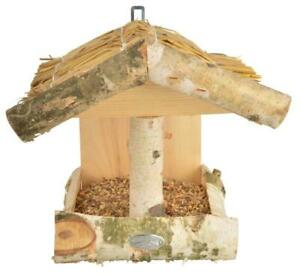 Esschert-Modele-Argente-Bouleau-Bois-Mural-Oiseau-Mangeoire-Table-Maison-Jardin
