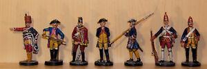 7-Zinnfiguren-54mm-Preussen-7-jaehriger-Krieg-bemalt-Franklin-Mint-1756-63
