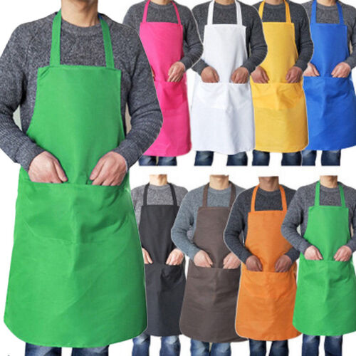9 Colors Plain Adult Sleeveless Bib Apron Women Men Chefs Butcher Cooking Dress