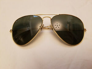 82152c5729 Vintage Ray Ban B&L Black UV Glass Lens Aviator Sunglasses 58[]14 ...