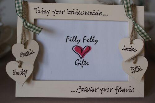 Personalised Photo Frame by Filly Folly! Gift for Bride from Bridesmaid! 6x4''