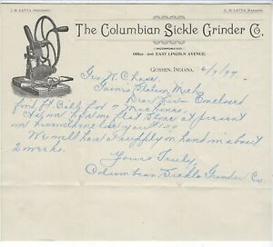 Details about Illus Letterhead & Blue Adv. Cover, Columbian Sickle Grinder  Co, Goshen IN, 1897