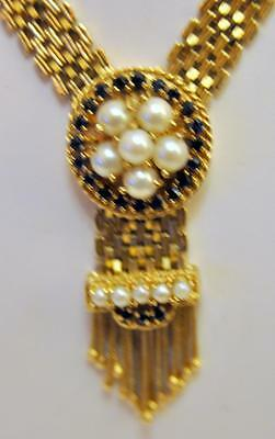 Antique mesh pearl necklace/ w sapphires Lot 174