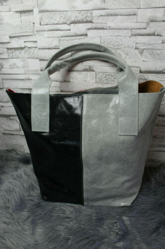 ITALY borsa reversibile in vera pelle Pelle Grigio Nero Vintage Borsetta Shopper Nuovo