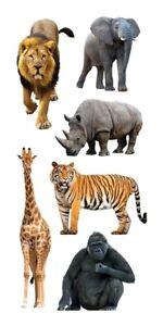 ZOO Craft Buttons 1ST CLASS POST Jungle Animal Elephant Wild Zebra Lion Giraffe