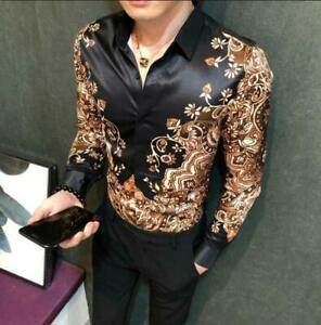 Mens-Button-Front-Slim-Fit-Casual-Tops-Printed-Floral-Long-Sleeve-T-shirt-Sz