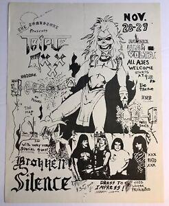 Dallas Texas 1980's Original Rock Band Flyer TRIPLE XXX Broken Silence Metal