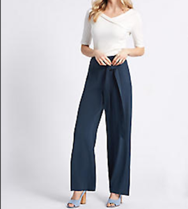 M/&S COLLECTION  Wide Leg Trousers ~ Navy~ £35