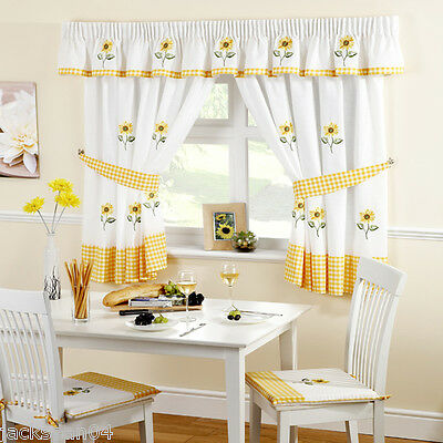 "SUNFLOWER YELLOW EMBROIDERED GINGHAM KITCHEN CURTAINS 46"" X 42"""