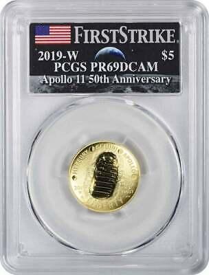 2019-W Apollo 11 50th Anniversary $5 Gold Commem PCGS PR69DCAM FS AMF Logo