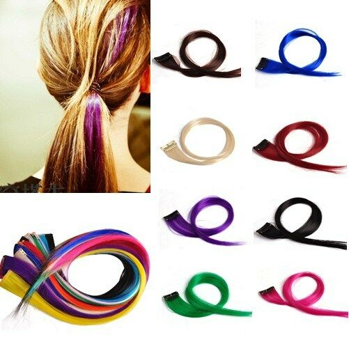 New Sale Multi-color Colorful Clip In Women's Supple Makeup Hair Extensions 18""