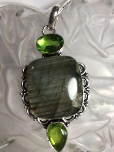 Labradorite and Peridot Pendant ~