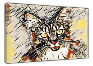 CAT PHOTO PICTURE  PRINT ON WOOD  FRAMED CANVAS WALL ART HOME DECORATION