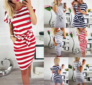 Womens-Short-Sleeve-Bodycon-Midi-Dress-Ladies-Summer-Casual-Pocket-Striped-Dress