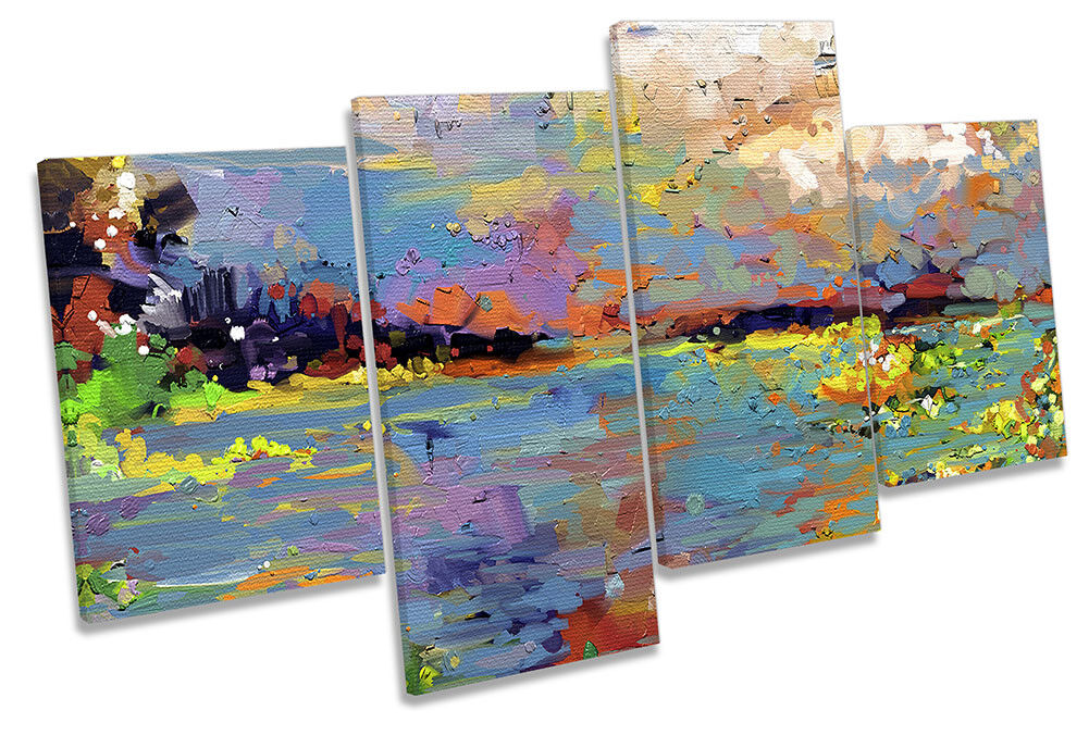 Abstract Floral Seascape MULTI CANVAS WALL ARTWORK Print Art