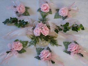 Tischdeko Set 7 Tlg Rosa Creme Tischdeko Hochzeit Taufe Ebay