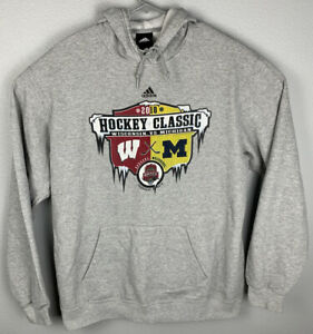 Adidas-2010-Hockey-Classic-Michigan-Wisconsin-Pullover-Hoodie-Gray-Mens-L-Large